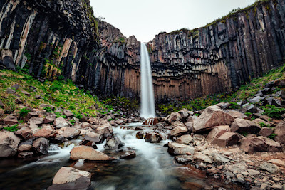 View of Svartifoss or the black falls in the Skaftafell area of Vatnajökull National Park