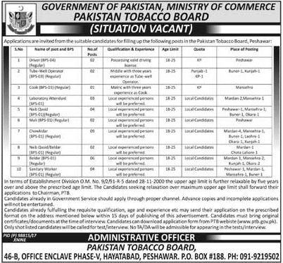 Tobacco Board Ministry of Commerce Jobs KPK