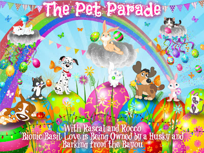 Colorful spring Pet Parade badge