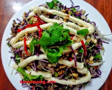 Giải nhiệt với salad rau mầm thịt bò