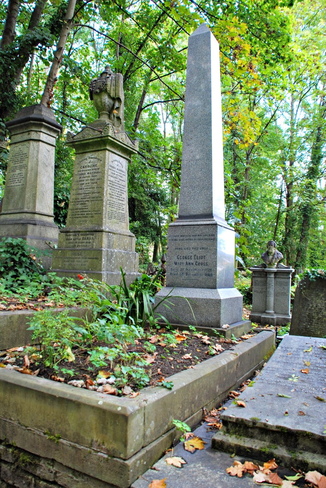 George Eliot's memorial, Highgate Cemetery, London