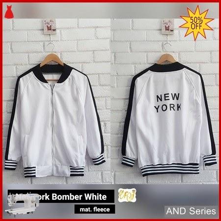 AND398 Jaket Wanita Jaket Newyork Bomber Putih BMGShop