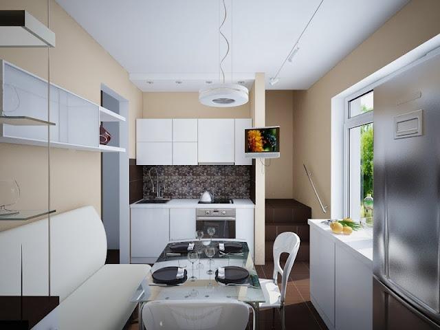 Contoh desain dapur kecil minimalis dengan meja makan berwarna putih
