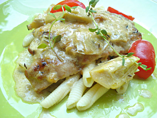 Scallops in cream sauce with artichokes by Laka kuharica: veal scallops  with artichoke hearts in delicate sauce.