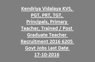 Kendriya Vidalaya Sangathan KVS, PGT, PRT, TGT, Principals, Primary Teacher, Trained-Post Graduate Teacher Recruitment 2016 6205 Govt Jobs