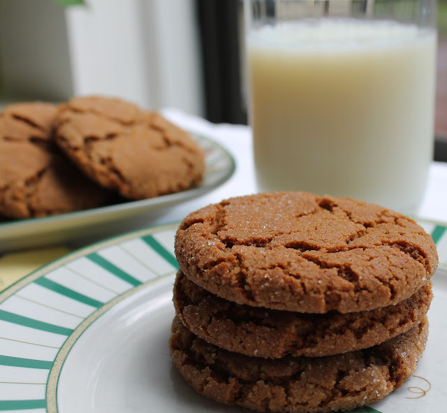 Molasses cookies and milk