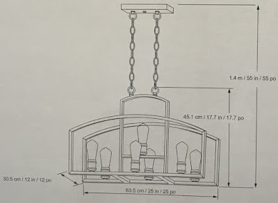 Dimensions for the Design Solutions International 7 Light LED Chandelier
