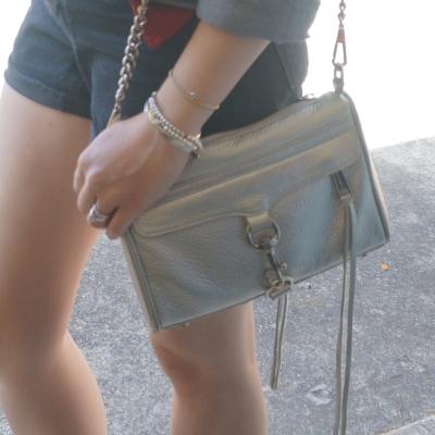 bare legs, Rebecca Minkoff metallic silver mini MAC | AwayFromTheBlue