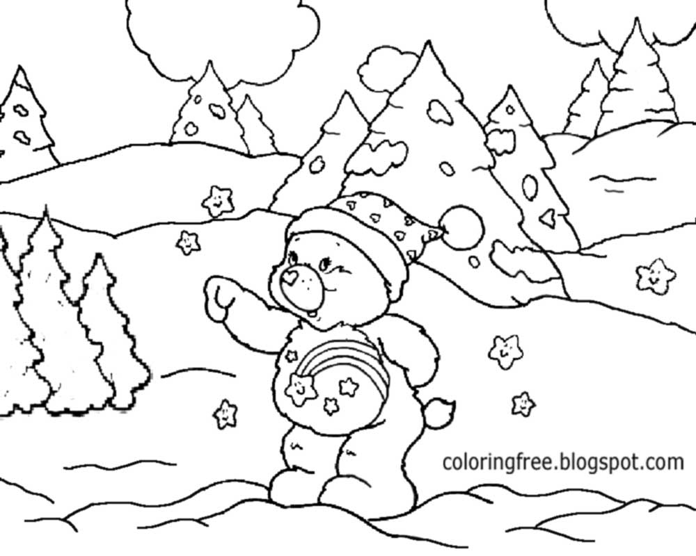 Cold Winter Snow Landscape View Cute Bear Coloring Pages Free Youngsters Printable Artwork Activity