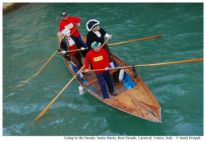 Going to the parade, Santa Marta, Boat Parade, Carnival, Venice, Italy - © Sunil Deepak