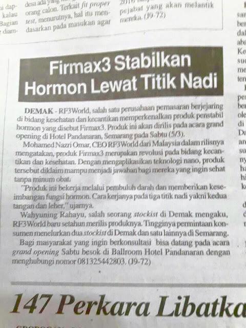 Kejayaan RF3 World Firmax3 Malaysia Masuk Paper