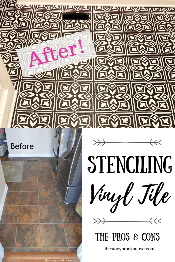 Painting & Stenciling Vinyl Flooring ~  The Pros & Cons