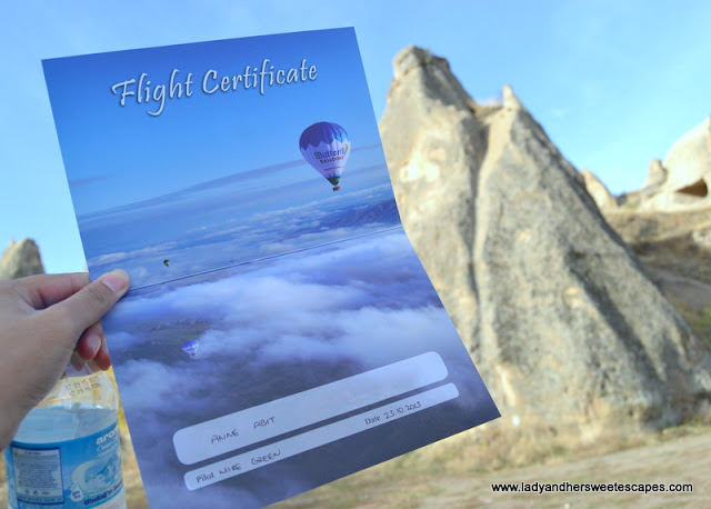 hot air balloon flight certificate
