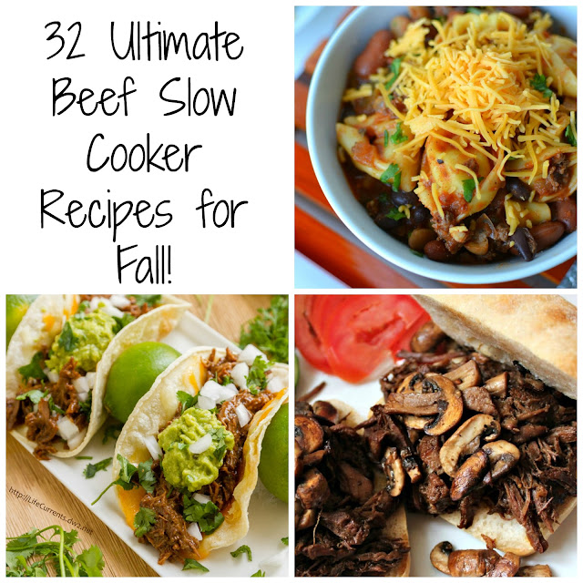 So many tasty crockpot recipes in this collection! Soups, stews, sandwiches, pasta, tacos and more! 32 Ultimate Beef Slow Cooker Recipes for Fall from Hot Eats and Cool Reads