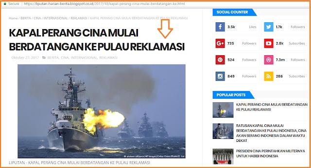 Hoax Kapal Perang China di Pulau Reklamasi