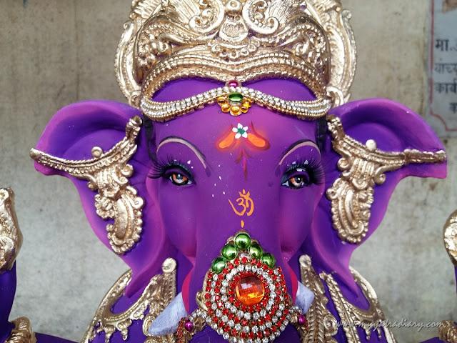 A blue Ganesha idol, Ganesh Chaturthi, Mumbai