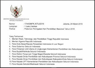Pedoman Upacara Peringatan Hari Pendidikan Nasional (HARDIKNAS) Tahun 2018