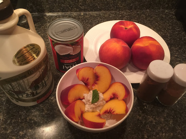 Ingredients for coconut whip cream: maple syrup, cinnamon, nutmeg, peaches