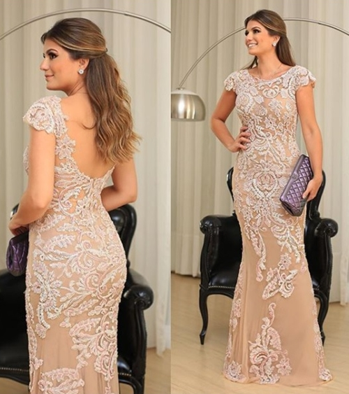 vestido nude bordado