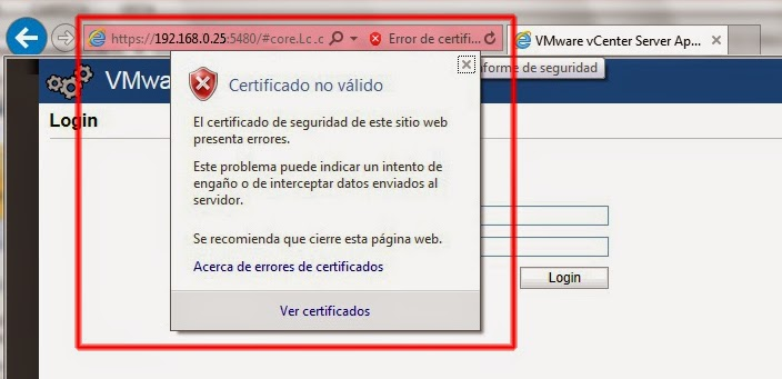 Certificado VMware vCenter Server Appliance