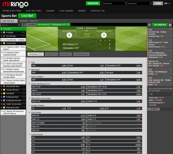 Mr Ringo Live Betting Screen