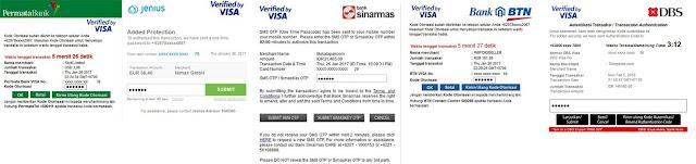 Transaksi online 3dsecure/VBV - Debit Permata, Jenius BTPN, Sinarmas, BTN, Digibank DBS