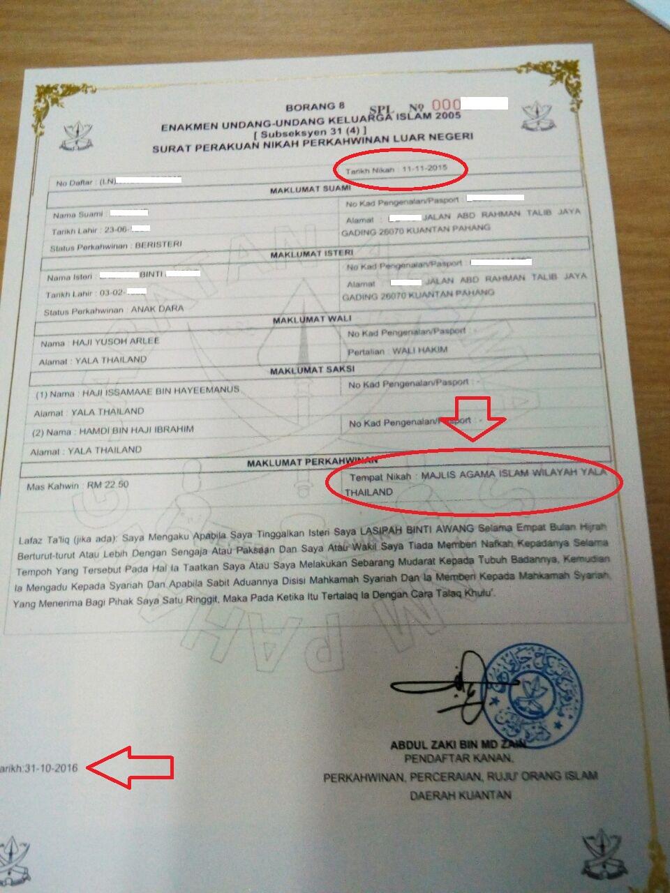 Contoh Surat Nikah Pahang
