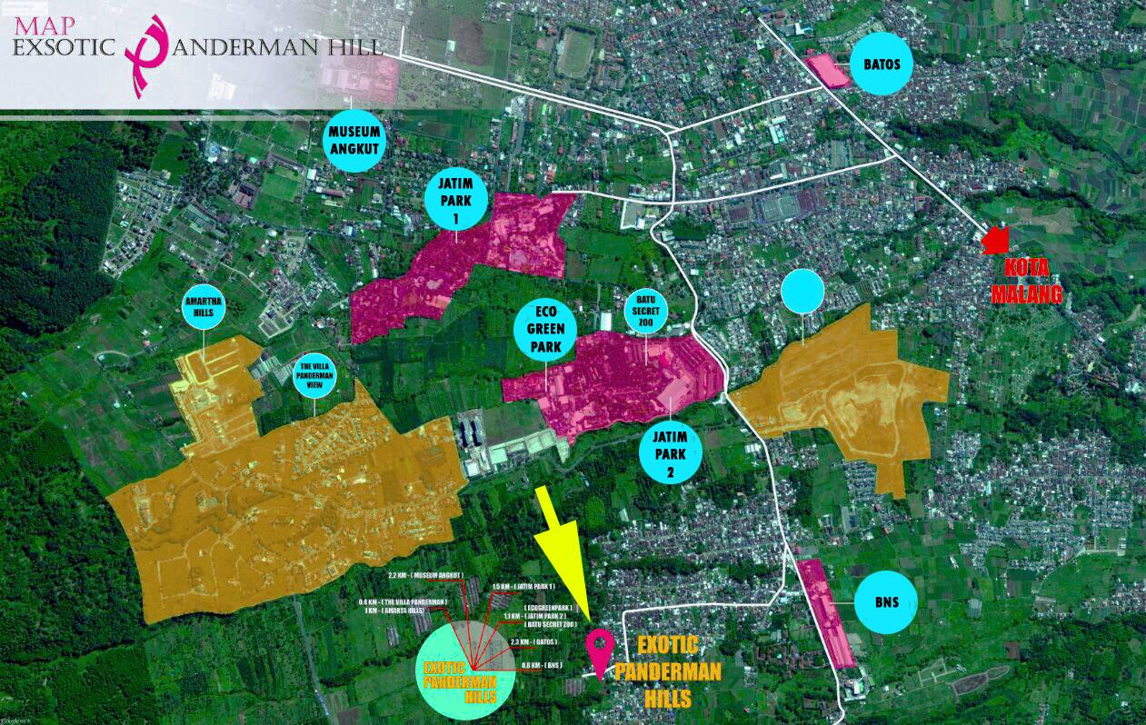 Ini adalah peta lokasi perum Villa Exotic Panderman Hill - villa di Kota Batu Malang dekat BNS, Jatim Park dan Museum Angkut.