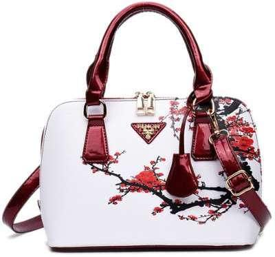 Floral Printed Handbag - Red
