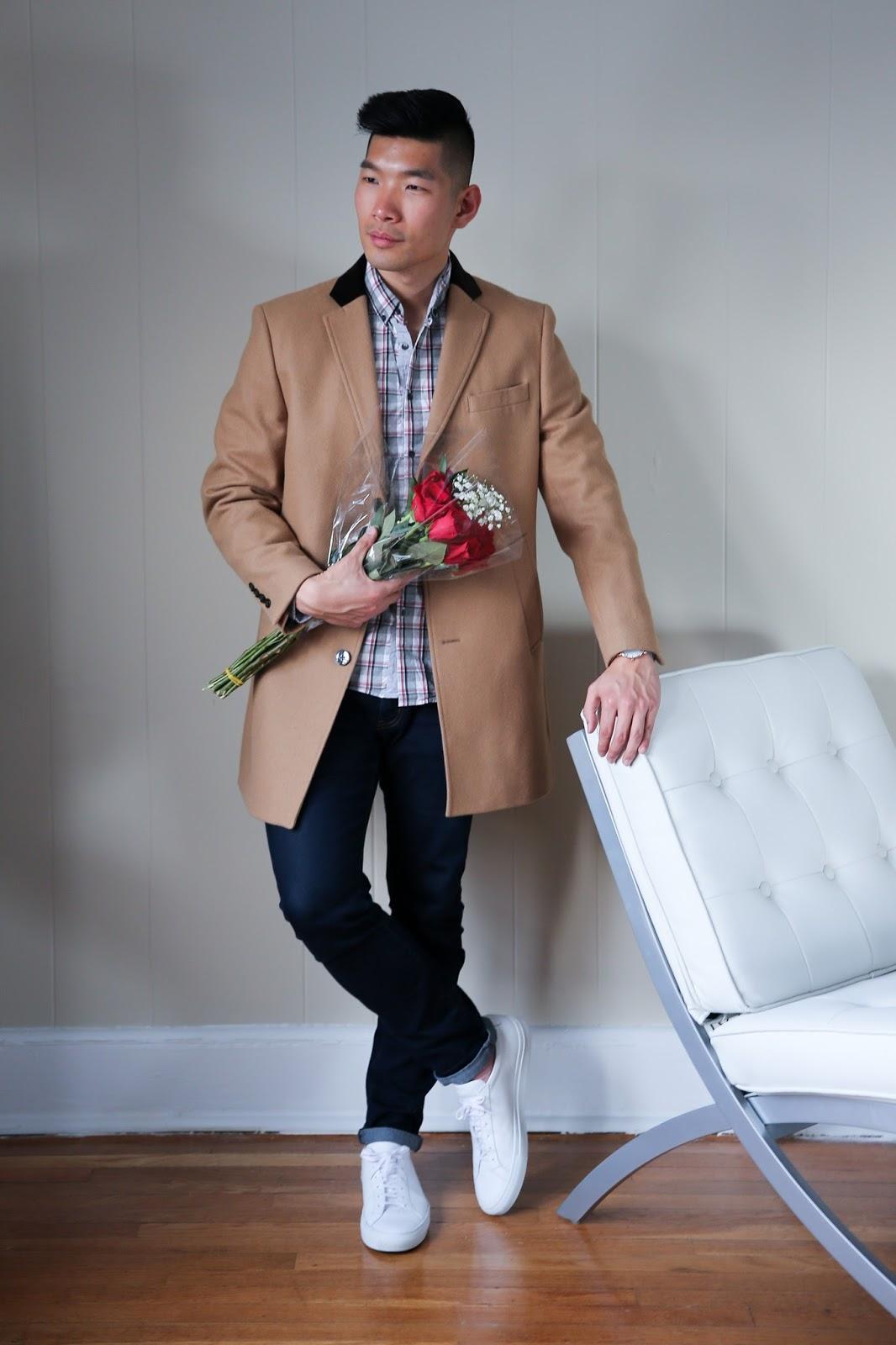 Men's Casual Look for Valentine's Day, Tallia Orange Camel Coat