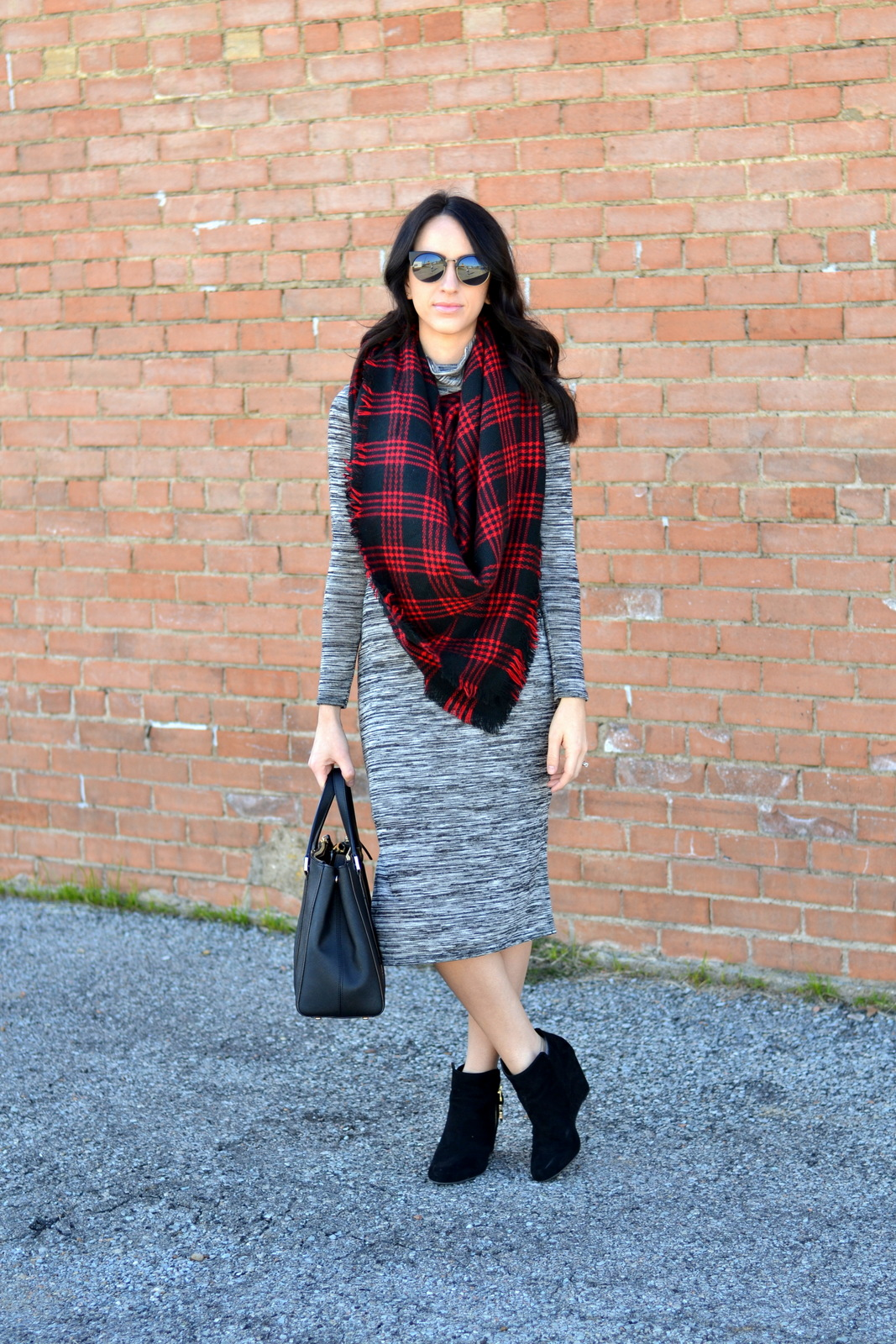 Fall Midi Dress, Blanket Scarf, Buffalo Plaid