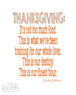 Gilmore Girls printable Thanksgiving quote