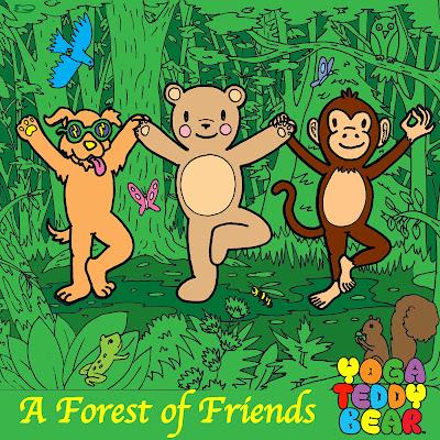 yoga, tree pose, vrksasana, yoga forest, friends, yoga teddy bear, yogateddybear, yogateddybeartv, yoga education, yoga ed, coloring books, education materials, learn yoga