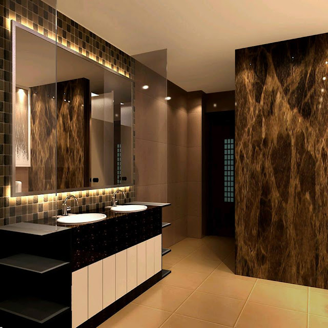 Dark Brown Tile Flooring Bathroom Design 2016