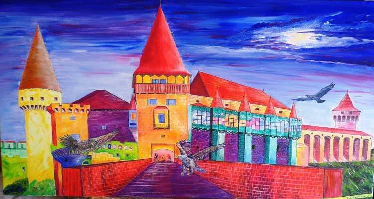 Tablou pictat in acril cu Castelul Corvinilor