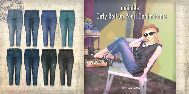 {amiable}Girly Roll-up Pearl Denim Pants