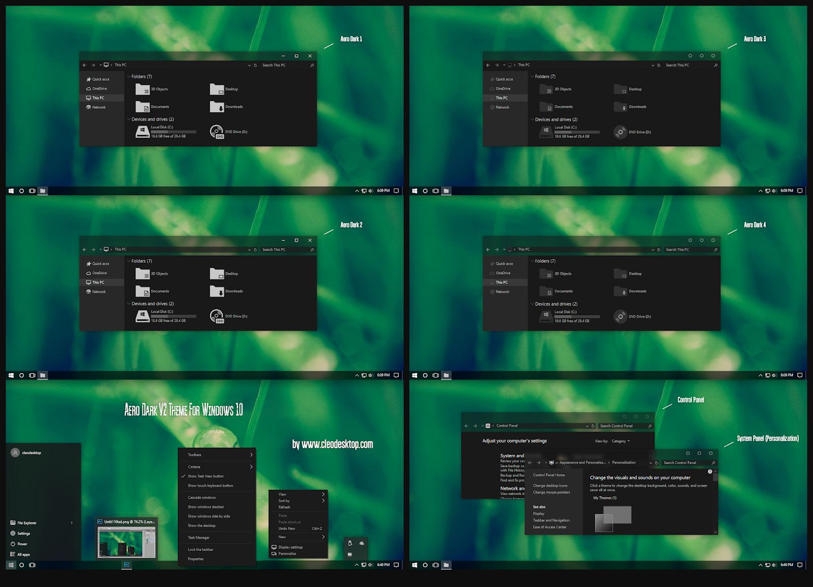 Aero Dark V2 Theme Windows10 November 2019 Update 1909