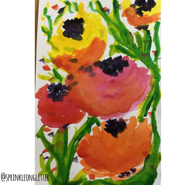 Sprinkle on Glitter Blog// one flower- three ways//watercolor