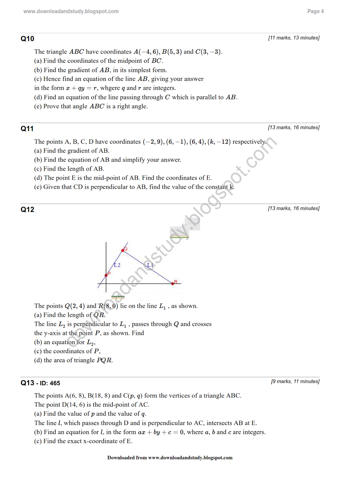 Download Amp Study As Maths Coordinate Geometry Test