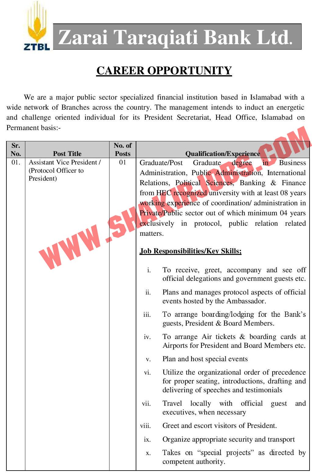 Zarai Taraqiati Bank Limited ZTBL Jobs April 2020 (50 Posts)