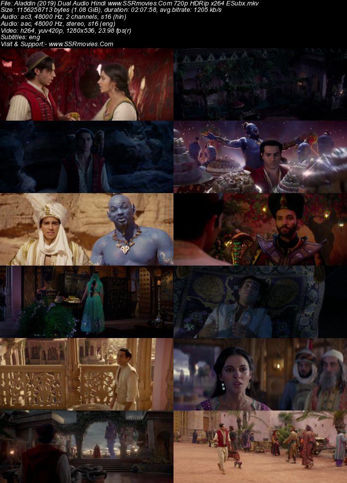 Aladdin (2019) Dual Audio Hindi 720p HDRip x264 1.1GB ESubs Movie Download
