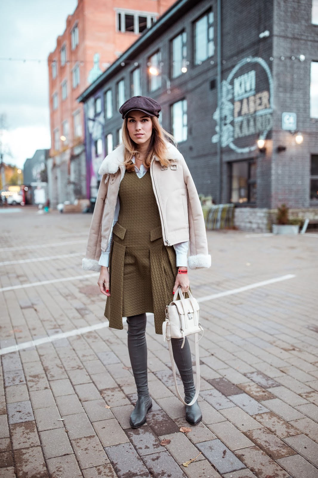 green dress over knee boots hat jacket outfit