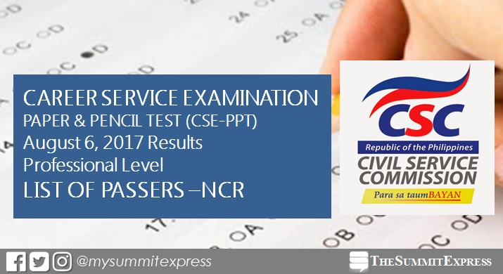 NCR Passers: August 2017 Civil service exam results CSE-PPT (Professional)