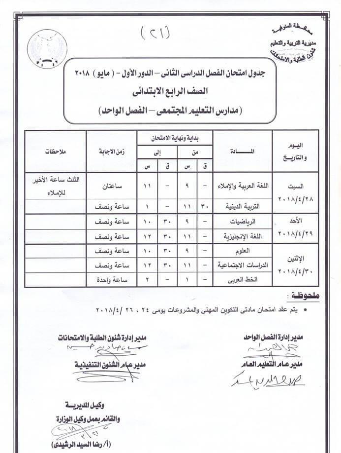 جدول امتحانات الصف الرابع الابتدائي 2018 اخر العام محافظة المنوفية