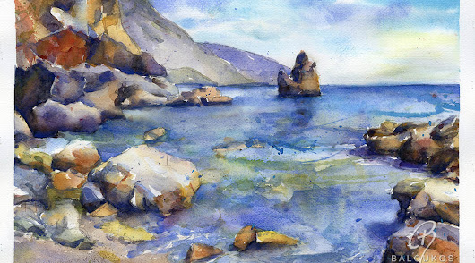 A new series of watercolors with themes from all over Greece. Check more at my site: www.baloukos.com
