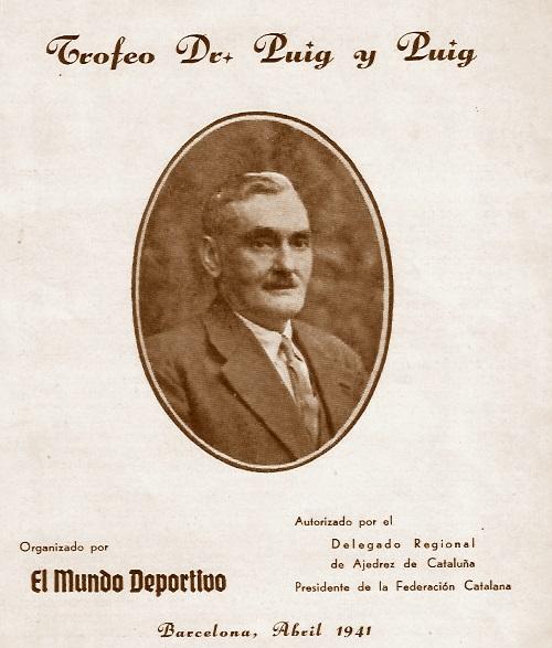 Portada del folleto del Trofeo del Dr. Puig i Puig, año 1941