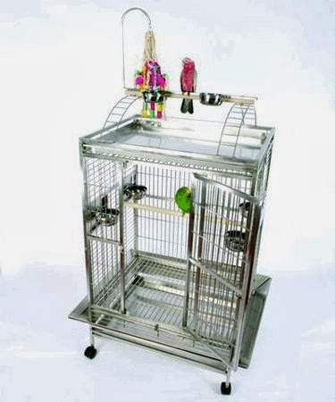 Mahalo Manor Play Top Stainless Steel Bird Cage