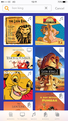Screenshot of some of the results on DisneyLife search for Lion King taken on an iPhone