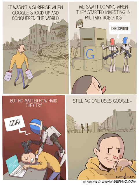 A funny comic about how nobody uses Google+