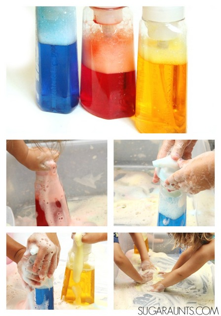 Fine motor strengthening workout activity with foamy, soapy, sensory play!
